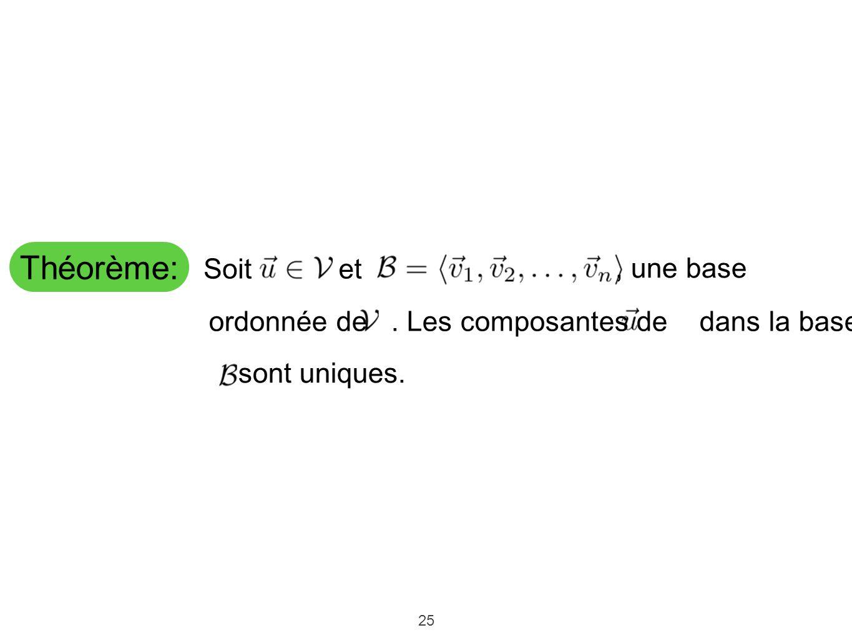 25 Théorème: sont uniques. Soitet, une base ordonnée de. Les composantes de dans la base