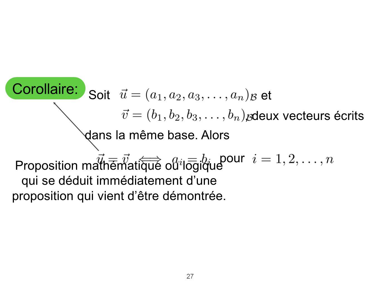 27 Corollaire: Proposition mathématique ou logique qui se déduit immédiatement dune proposition qui vient dêtre démontrée. Soit et, deux vecteurs écri