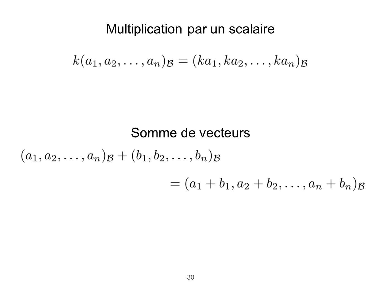 30 Multiplication par un scalaire Somme de vecteurs