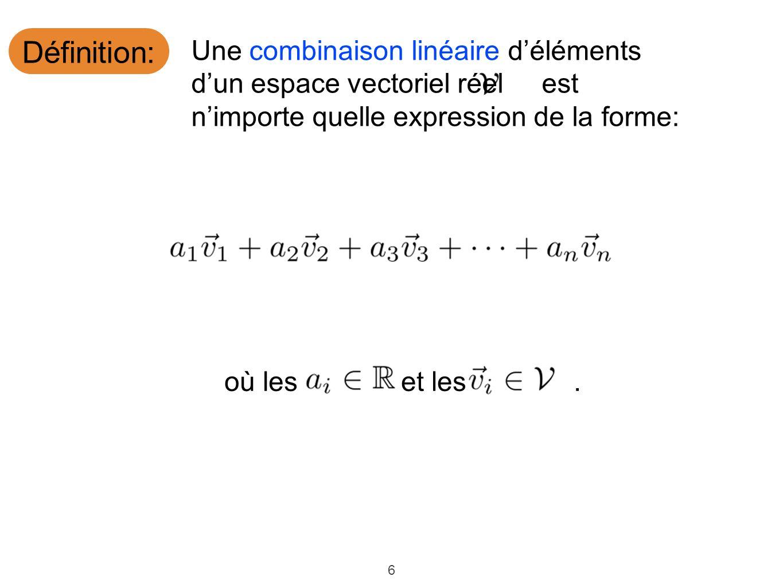 6 Définition: où leset les. Une combinaison linéaire déléments dun espace vectoriel réel est nimporte quelle expression de la forme: