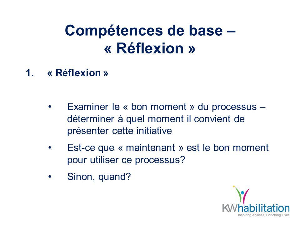 Compétences de base – « Réflexion » 1.« Réflexion » Examiner le « bon moment » du processus – déterminer à quel moment il convient de présenter cette initiative Est-ce que « maintenant » est le bon moment pour utiliser ce processus.