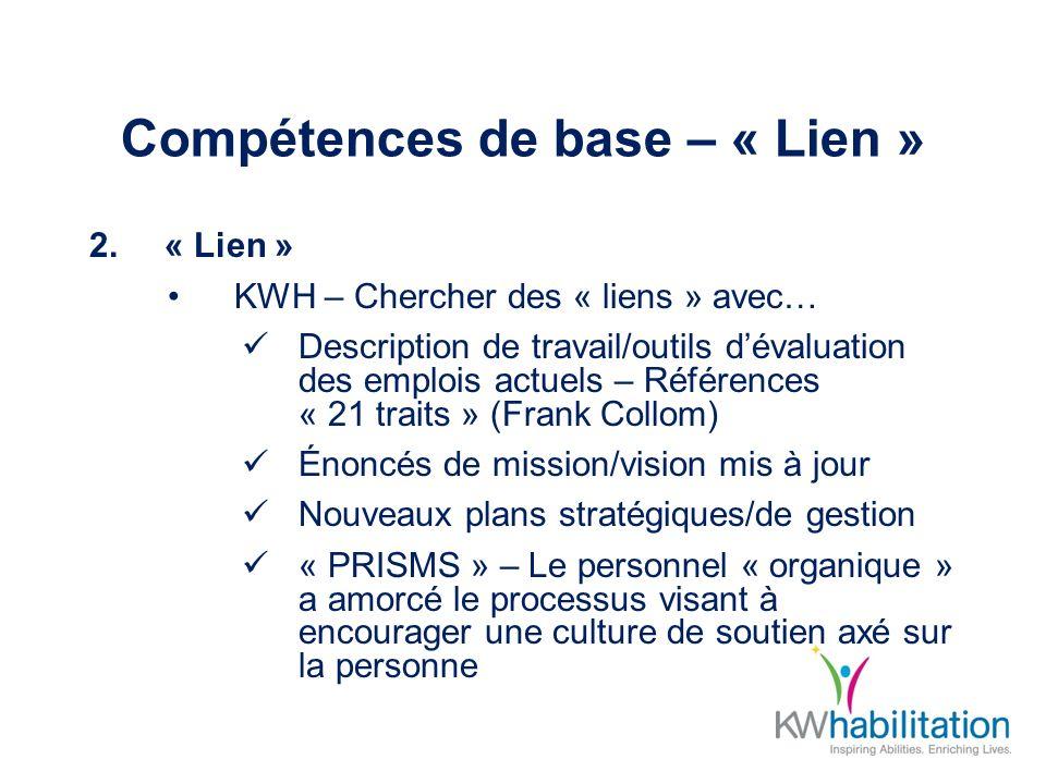 Compétences de base – « Lien » 2.« Lien » KWH – Chercher des « liens » avec… Description de travail/outils dévaluation des emplois actuels – Référence