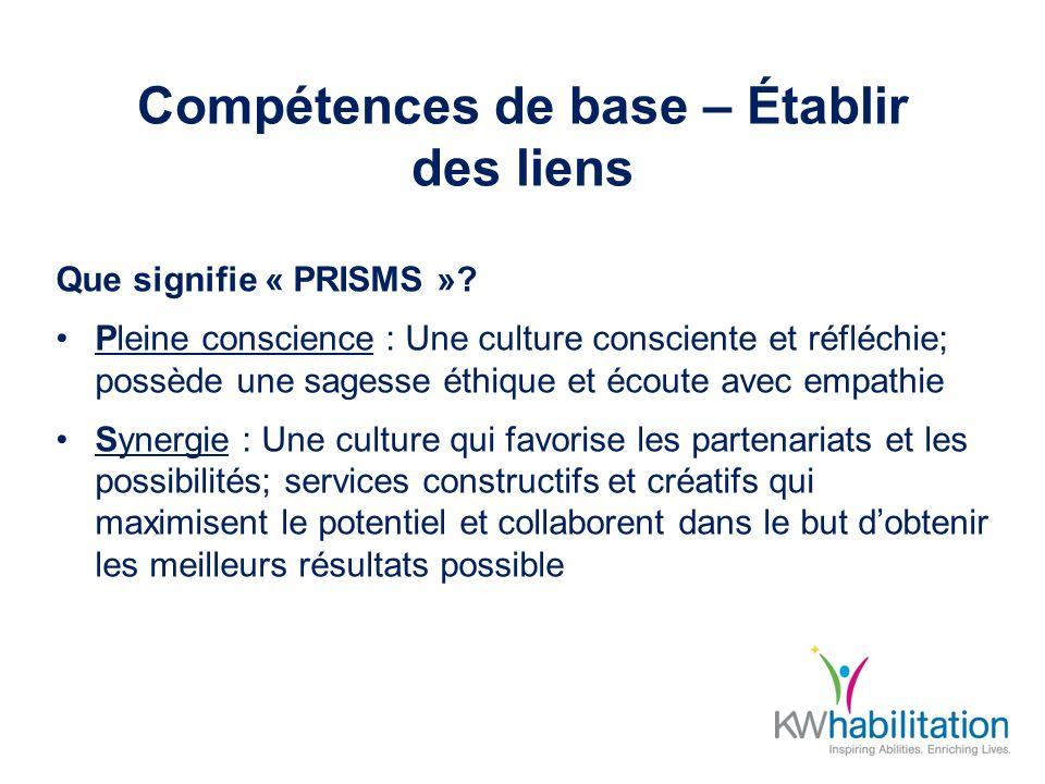 Compétences de base – Établir des liens Que signifie « PRISMS »? Pleine conscience : Une culture consciente et réfléchie; possède une sagesse éthique