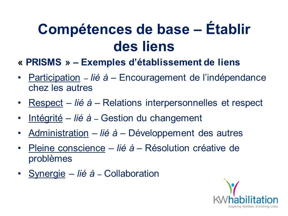 Compétences de base – Établir des liens « PRISMS » – Exemples détablissement de liens Participation – lié à – Encouragement de lindépendance chez les