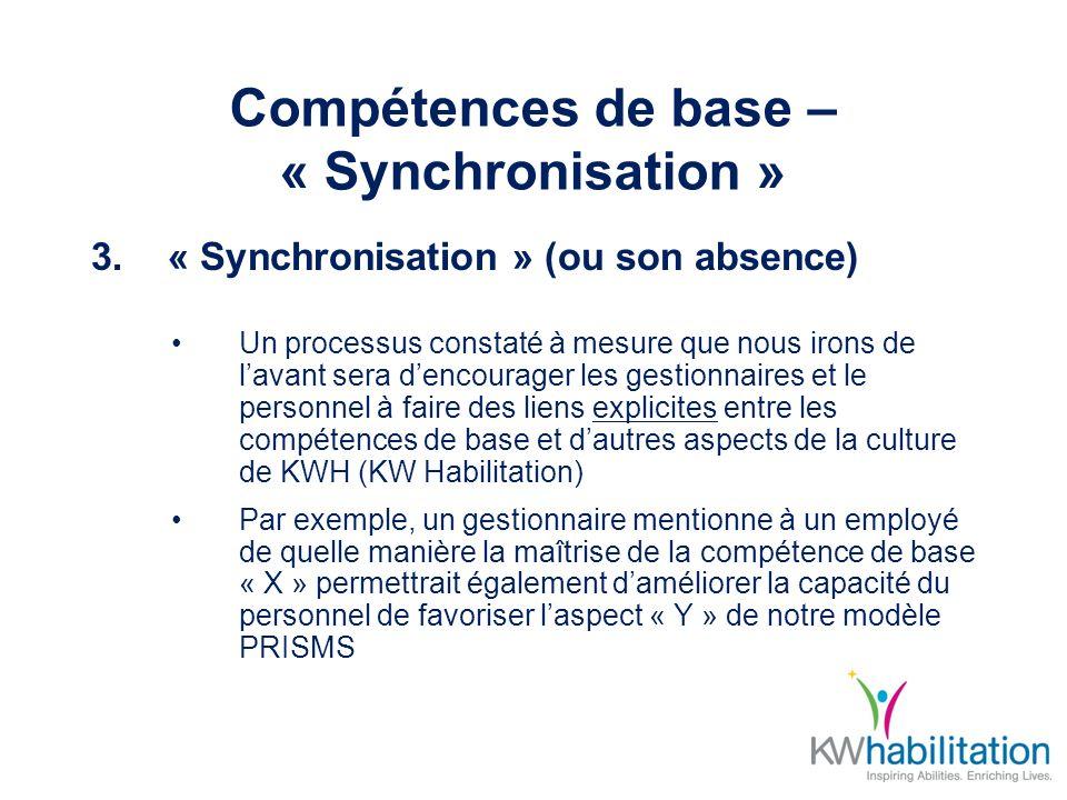 Compétences de base – « Synchronisation » 3.« Synchronisation » (ou son absence) Un processus constaté à mesure que nous irons de lavant sera dencourager les gestionnaires et le personnel à faire des liens explicites entre les compétences de base et dautres aspects de la culture de KWH (KW Habilitation) Par exemple, un gestionnaire mentionne à un employé de quelle manière la maîtrise de la compétence de base « X » permettrait également daméliorer la capacité du personnel de favoriser laspect « Y » de notre modèle PRISMS