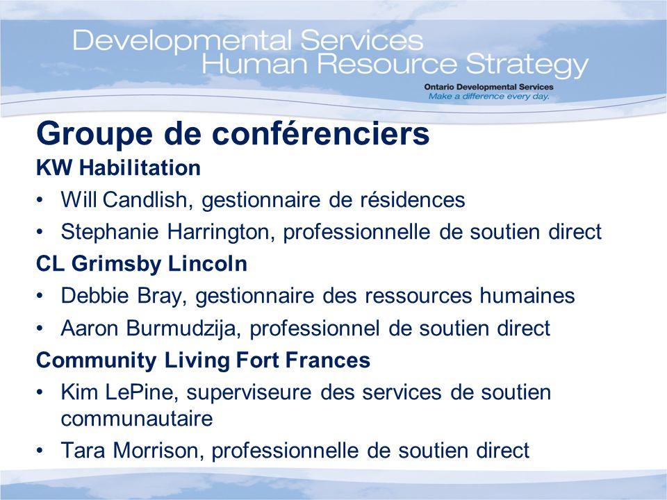 Groupe de conférenciers KW Habilitation Will Candlish, gestionnaire de résidences Stephanie Harrington, professionnelle de soutien direct CL Grimsby L