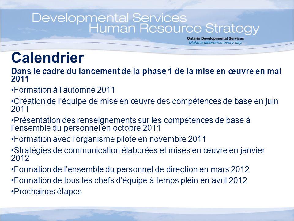 Calendrier Dans le cadre du lancement de la phase 1 de la mise en œuvre en mai 2011 Formation à lautomne 2011 Création de léquipe de mise en œuvre des
