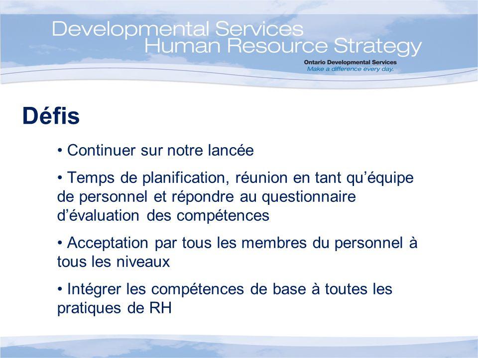 Défis Continuer sur notre lancée Temps de planification, réunion en tant quéquipe de personnel et répondre au questionnaire dévaluation des compétence