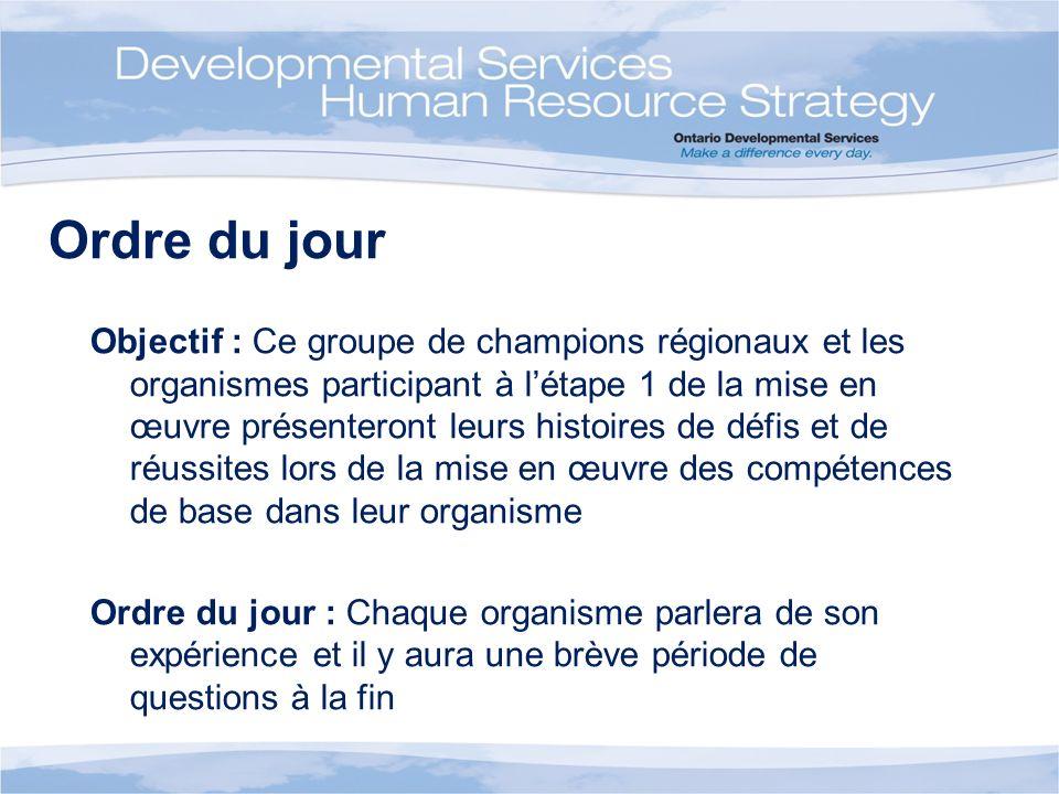Ordre du jour Objectif : Ce groupe de champions régionaux et les organismes participant à létape 1 de la mise en œuvre présenteront leurs histoires de