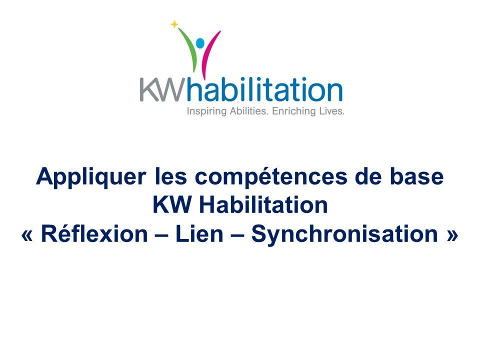 Compétences de base – Établir des liens « PRISMS » – Exemples détablissement de liens Participation – lié à – Encouragement de lindépendance chez les autres Respect – lié à – Relations interpersonnelles et respect Intégrité – lié à – Gestion du changement Administration – lié à – Développement des autres Pleine conscience – lié à – Résolution créative de problèmes Synergie – lié à – Collaboration