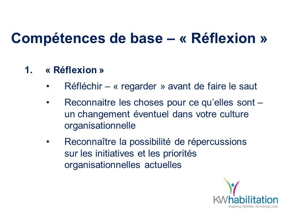 Compétences de base – « Réflexion » 1.« Réflexion » Réfléchir – « regarder » avant de faire le saut Reconnaitre les choses pour ce quelles sont – un changement éventuel dans votre culture organisationnelle Reconnaître la possibilité de répercussions sur les initiatives et les priorités organisationnelles actuelles