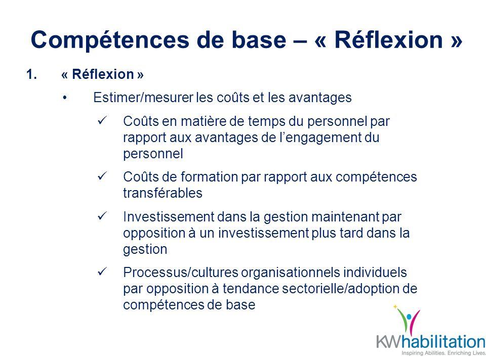 Compétences de base – « Réflexion » 1.« Réflexion » Estimer/mesurer les coûts et les avantages Coûts en matière de temps du personnel par rapport aux