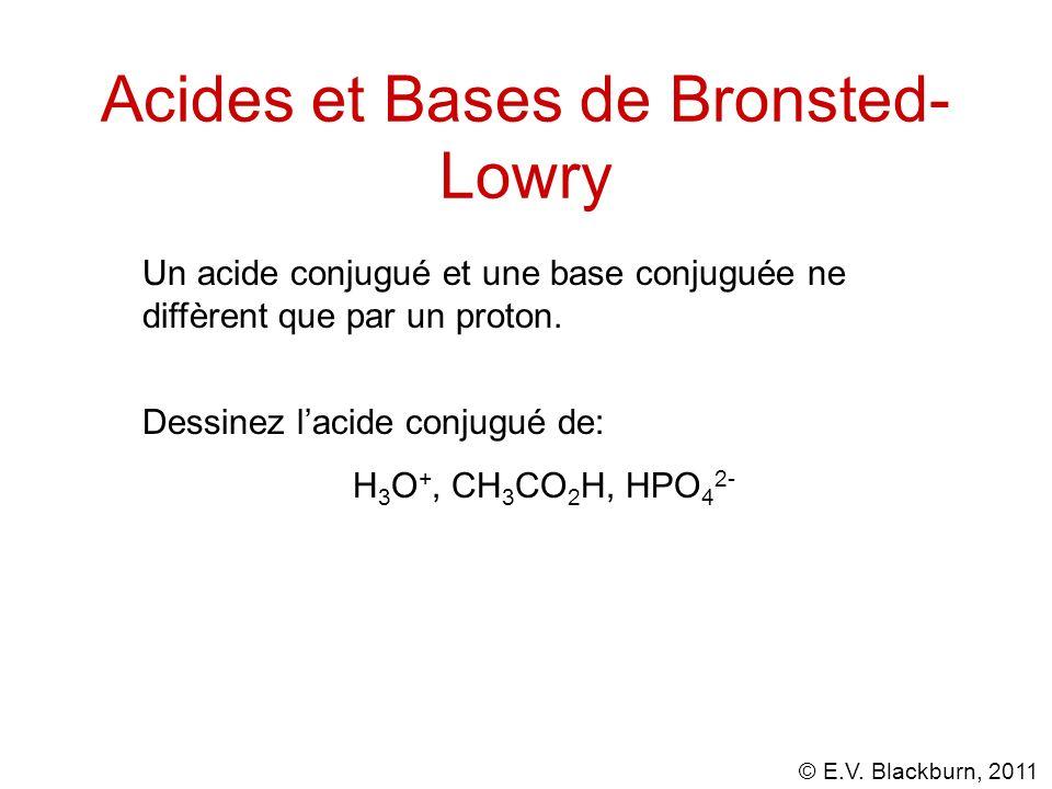 © E.V. Blackburn, 2011 Acides et Bases de Bronsted- Lowry Un acide conjugué et une base conjuguée ne diffèrent que par un proton. Dessinez lacide conj