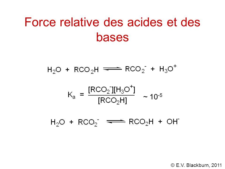 © E.V. Blackburn, 2011 Force relative des acides et des bases ~ 10 -5