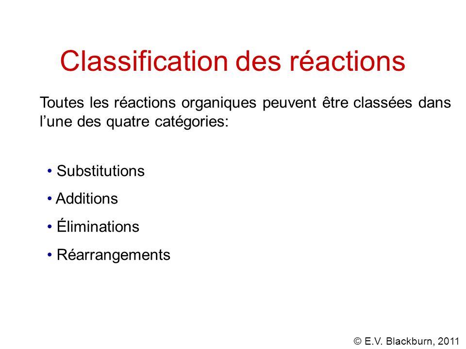 © E.V. Blackburn, 2011 Classification des réactions Toutes les réactions organiques peuvent être classées dans lune des quatre catégories: Substitutio