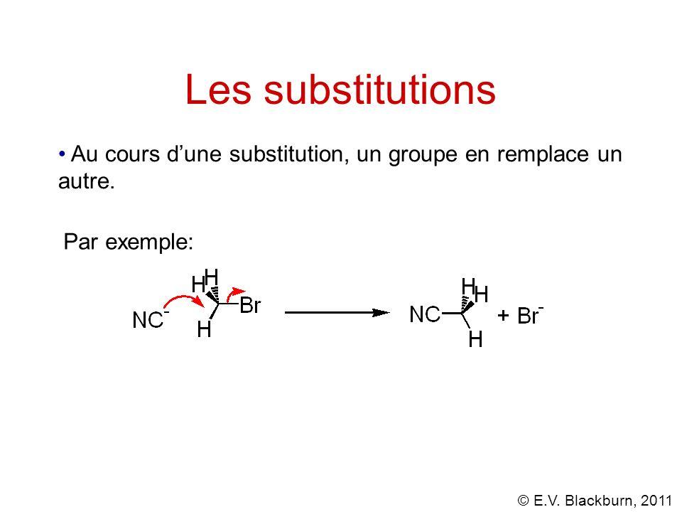 © E.V. Blackburn, 2011 Les substitutions Au cours dune substitution, un groupe en remplace un autre. Par exemple: