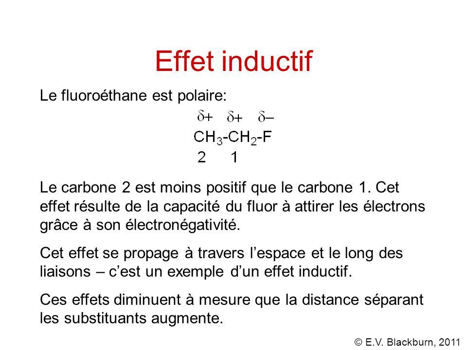 © E.V. Blackburn, 2011 Effet inductif Le fluoroéthane est polaire: Le carbone 2 est moins positif que le carbone 1. Cet effet résulte de la capacité d