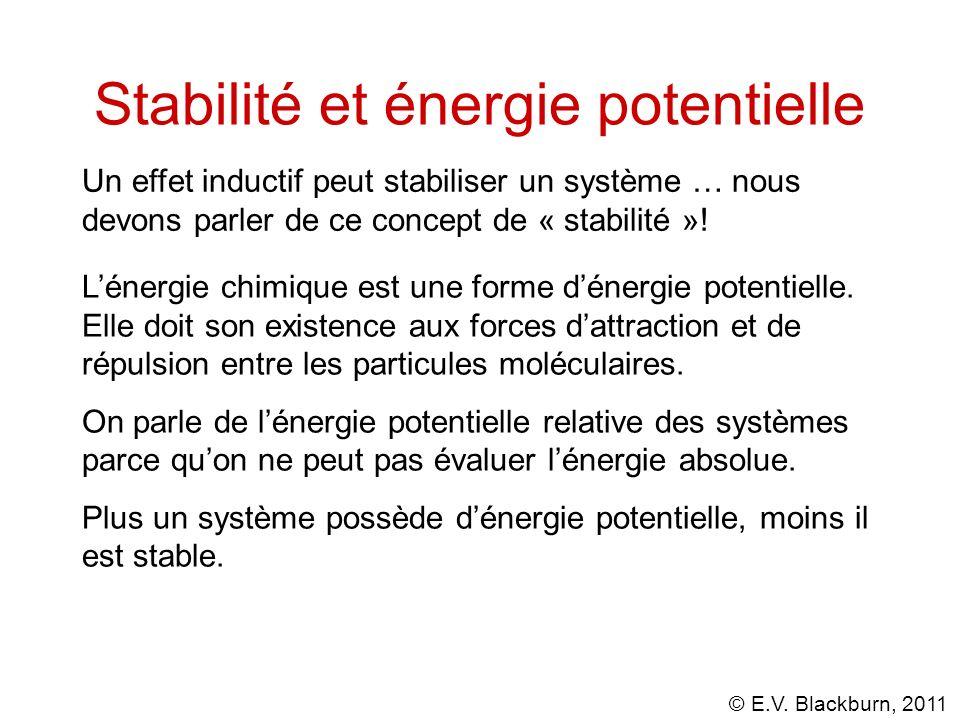 © E.V. Blackburn, 2011 Stabilité et énergie potentielle Un effet inductif peut stabiliser un système … nous devons parler de ce concept de « stabilité