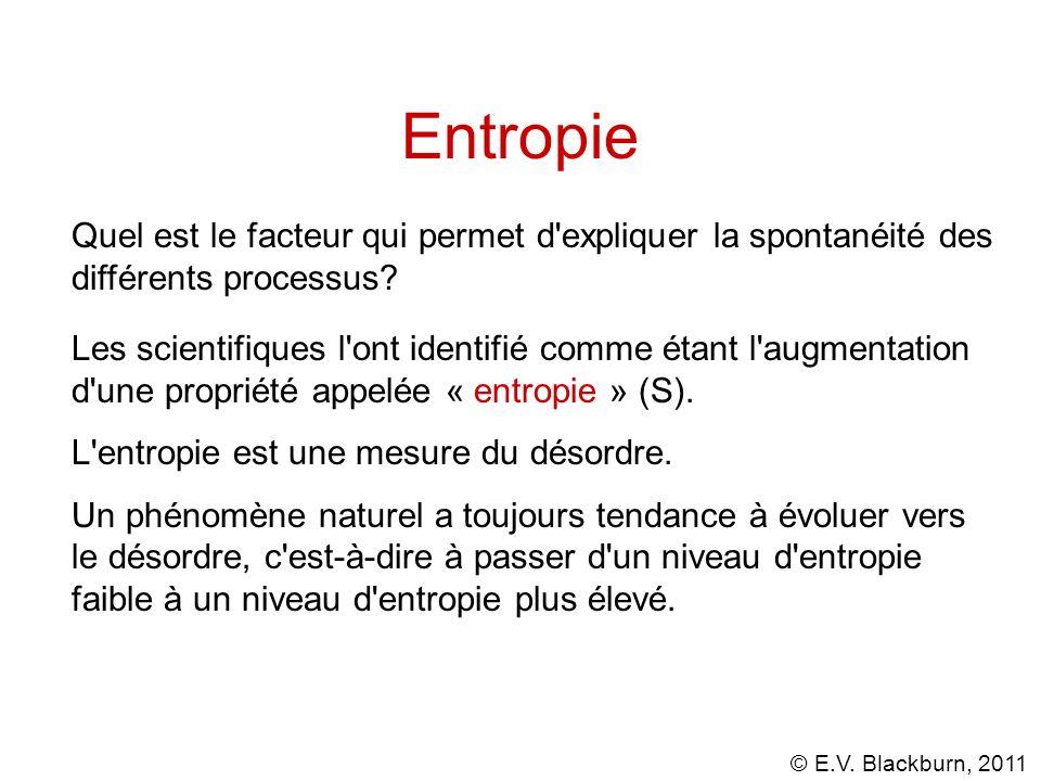 © E.V. Blackburn, 2011 Entropie Les scientifiques l'ont identifié comme étant l'augmentation d'une propriété appelée « entropie » (S). L'entropie est