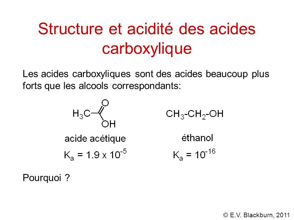 © E.V. Blackburn, 2011 Structure et acidité des acides carboxylique Les acides carboxyliques sont des acides beaucoup plus forts que les alcools corre