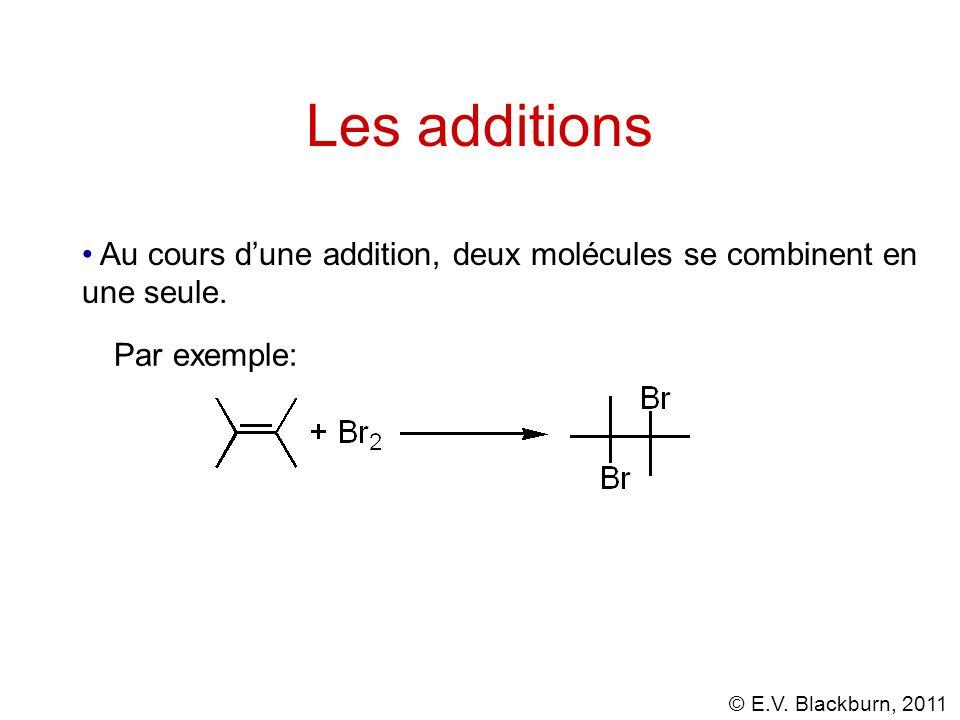 © E.V. Blackburn, 2011 Les additions Au cours dune addition, deux molécules se combinent en une seule. Par exemple: