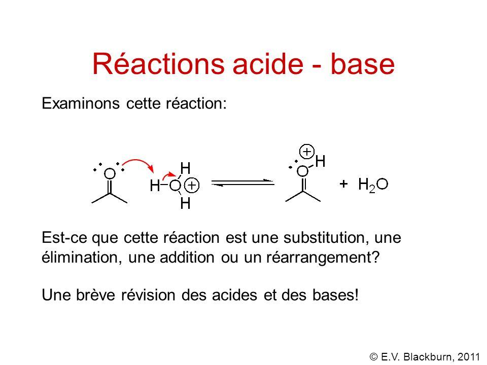 © E.V. Blackburn, 2011 Réactions acide - base Une brève révision des acides et des bases! Examinons cette réaction: Est-ce que cette réaction est une