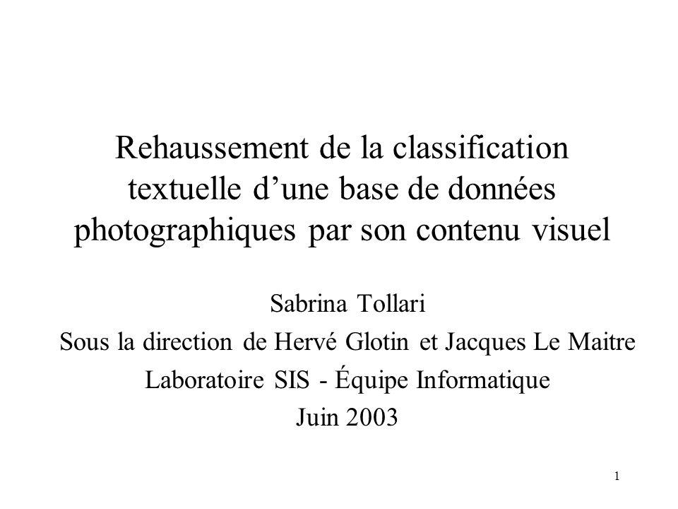 11 Représentation textuelle des images : le modèle vectoriel Salton, 1971 Une image est représentée par un vecteur des mot-clés Exemple : Soit une image I telle que Terme(I)={Radio} –Vecteur(I)=(0,1,0) –Vecteur_etendu(I)=(1,1,0) Média(1) Radio(2)Télévision(3) Thésaurus