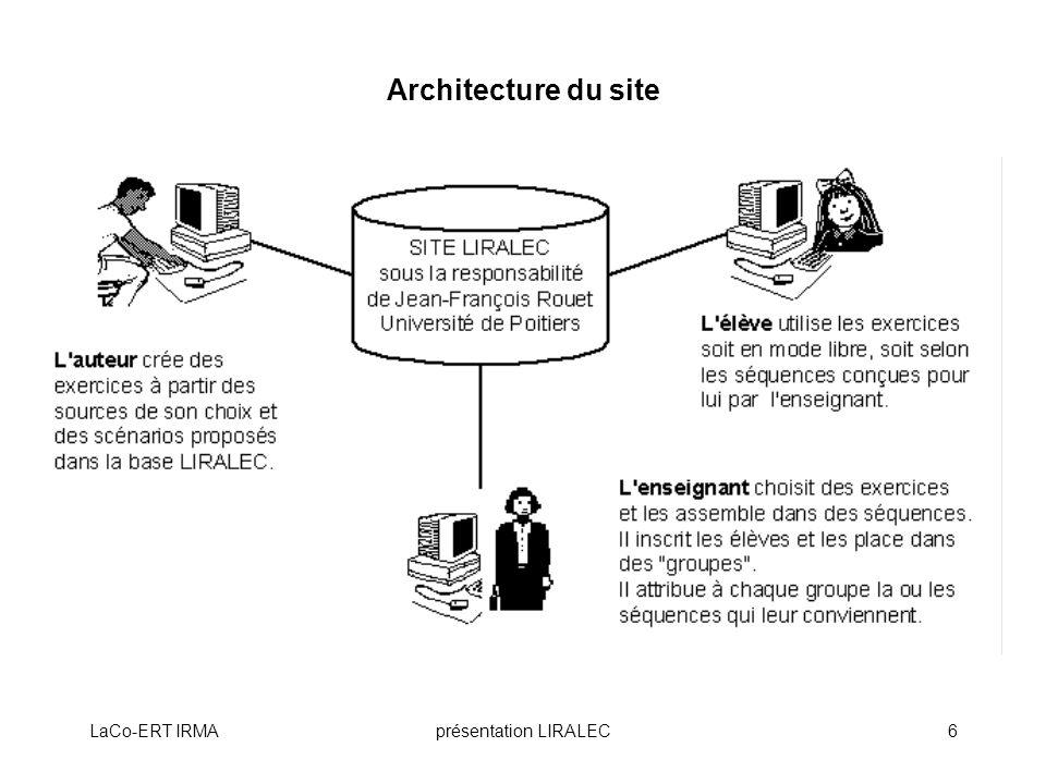 LaCo-ERT IRMAprésentation LIRALEC7 Rôles des utilisateurs de LIRALEC Auteurs : créent des exercices à partir des scénarios prédéfinis.