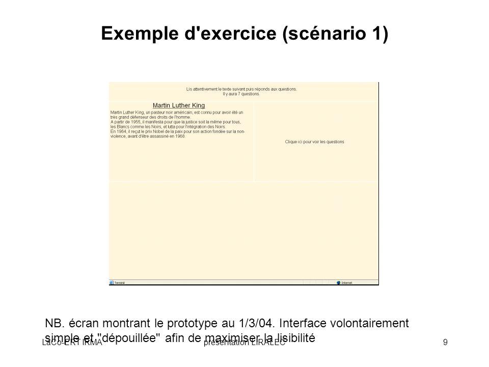 LaCo-ERT IRMAprésentation LIRALEC20 Validation du site LIRALEC Procédure : –Pré-tests standardisés (lecture et compréhension) 4 groupes délèves : BLBC, MLMC, BLMC, MLBC Appariement : G.