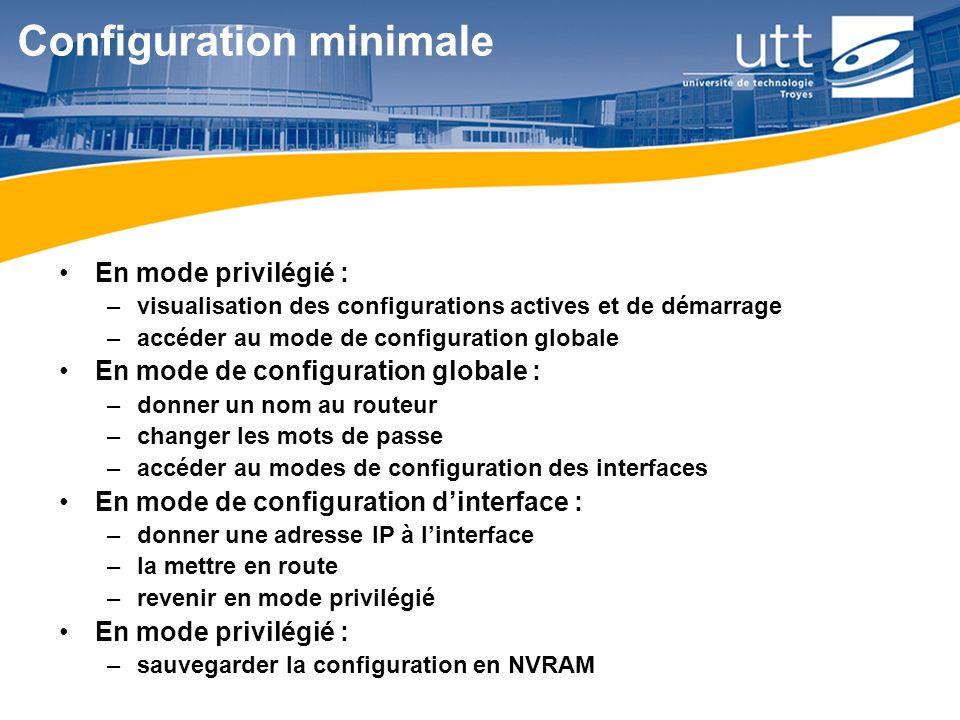 RE168 Configuration minimale En mode privilégié : –visualisation des configurations actives et de démarrage –accéder au mode de configuration globale