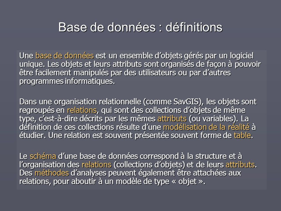 Base de données : définitions Une base de données est un ensemble dobjets gérés par un logiciel unique.