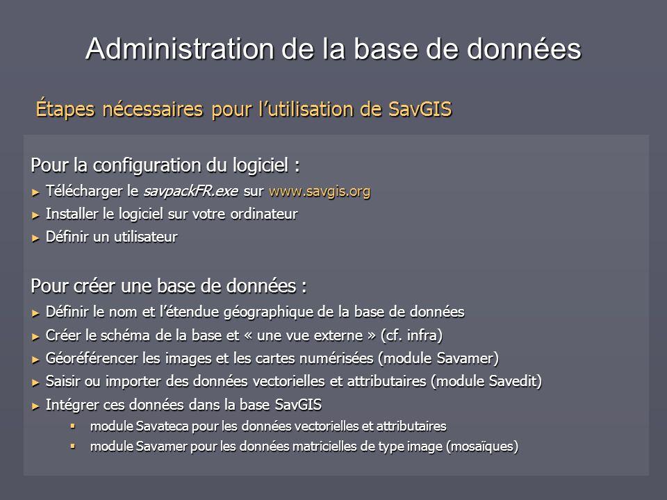 Administration de la base de données Configuration du logiciel Téléchargement du logiciel depuis www.savgis.org Installation du logiciel Installation du logiciel Création dun utilisateur Création dun utilisateur Déclaration automatique de bases de données dexemple Déclaration automatique de bases de données dexemple