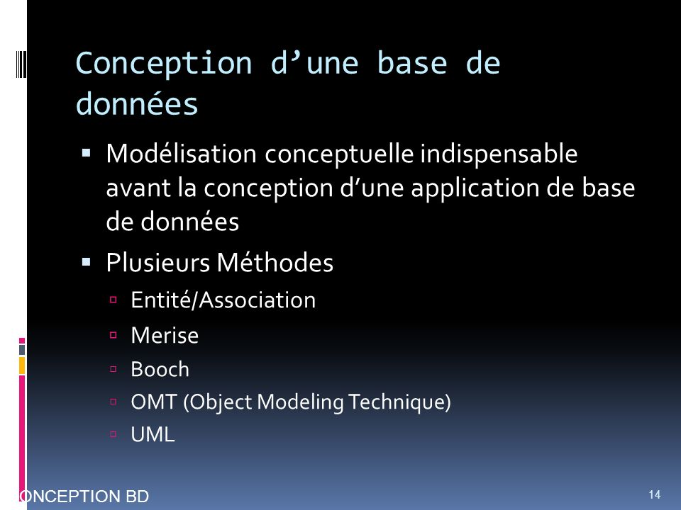 Conception dune base de données Modélisation conceptuelle indispensable avant la conception dune application de base de données Plusieurs Méthodes Entité/Association Merise Booch OMT (Object Modeling Technique) UML 14 CONCEPTION BD