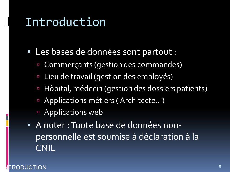 Introduction Les bases de données sont partout : Commerçants (gestion des commandes) Lieu de travail (gestion des employés) Hôpital, médecin (gestion