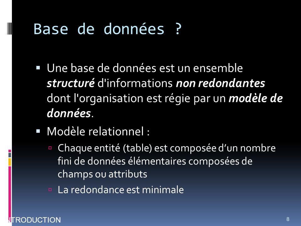 Base de données ? Une base de données est un ensemble structuré d'informations non redondantes dont l'organisation est régie par un modèle de données.
