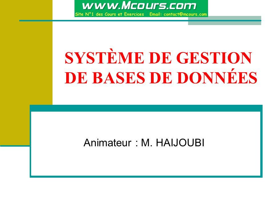 SYSTÈME DE GESTION DE BASES DE DONNÉES Animateur : M. HAIJOUBI