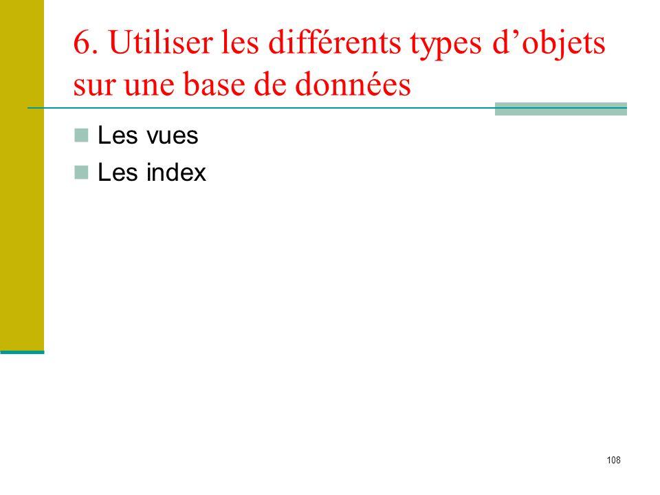 109 Les vues Une vue est une table virtuelle dont le contenu est défini par une requête Une vue ressemble à une table réelle, avec un ensemble de colonnes nommées et de lignes de données Une vue n existe pas en tant qu ensemble de valeurs de données stocké dans une base de données Les lignes et les colonnes de données proviennent de tables référencées dans la requête qui définit la vue et sont produites dynamiquement lorsque la vue est utilisée