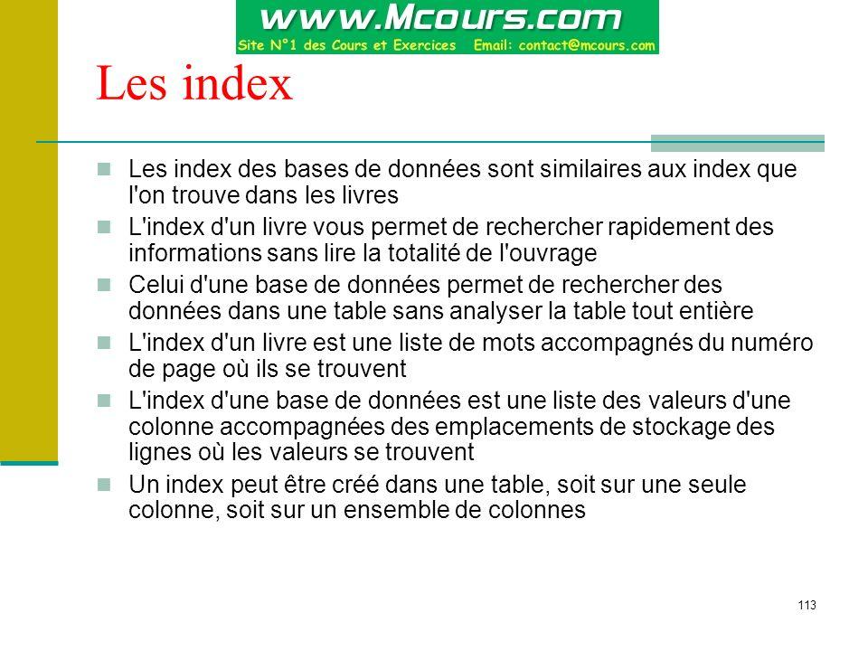 114 Index ordonné et index unique Lorsque vous créez un index ordonné en clusters, la table est copiée, les données de la table sont triées et la table initiale est supprimée La création d un index unique garantit l échec de toute tentative d entrer des valeurs de clé en double