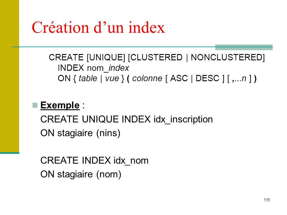 115 Création dun index CREATE [UNIQUE] [CLUSTERED | NONCLUSTERED] INDEX nom_index ON { table | vue } ( colonne [ ASC | DESC ] [,...n ] ) Exemple : CRE