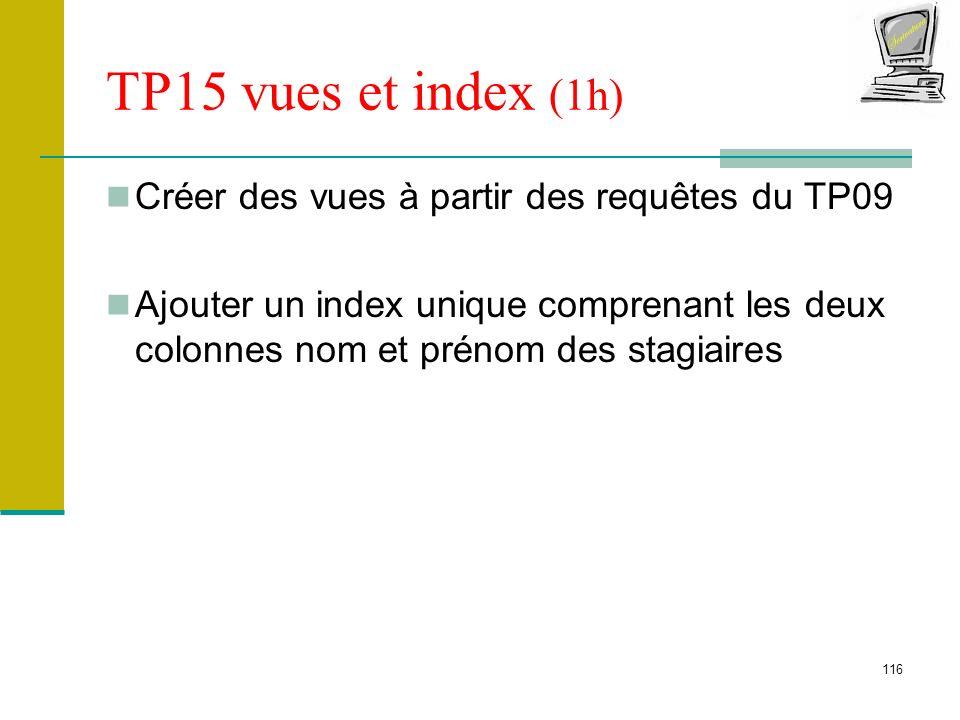 116 TP15 vues et index (1h) Créer des vues à partir des requêtes du TP09 Ajouter un index unique comprenant les deux colonnes nom et prénom des stagia