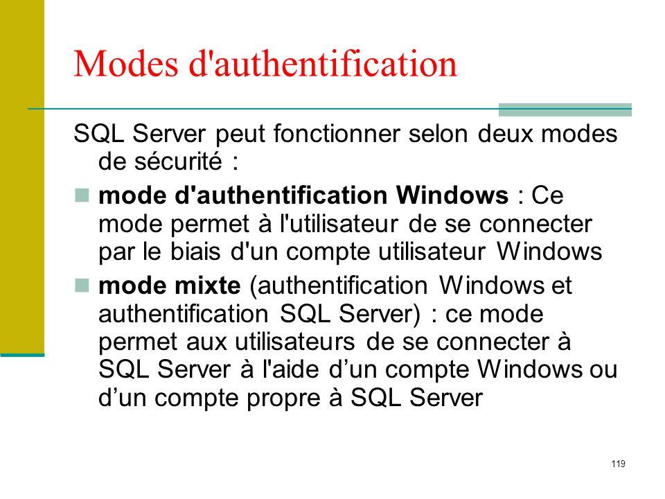 119 Modes d'authentification SQL Server peut fonctionner selon deux modes de sécurité : mode d'authentification Windows : Ce mode permet à l'utilisate