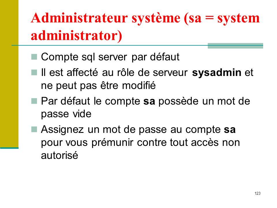 123 Administrateur système (sa = system administrator) Compte sql server par défaut Il est affecté au rôle de serveur sysadmin et ne peut pas être mod