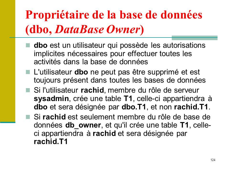 124 Propriétaire de la base de données (dbo, DataBase Owner) dbo est un utilisateur qui possède les autorisations implicites nécessaires pour effectue