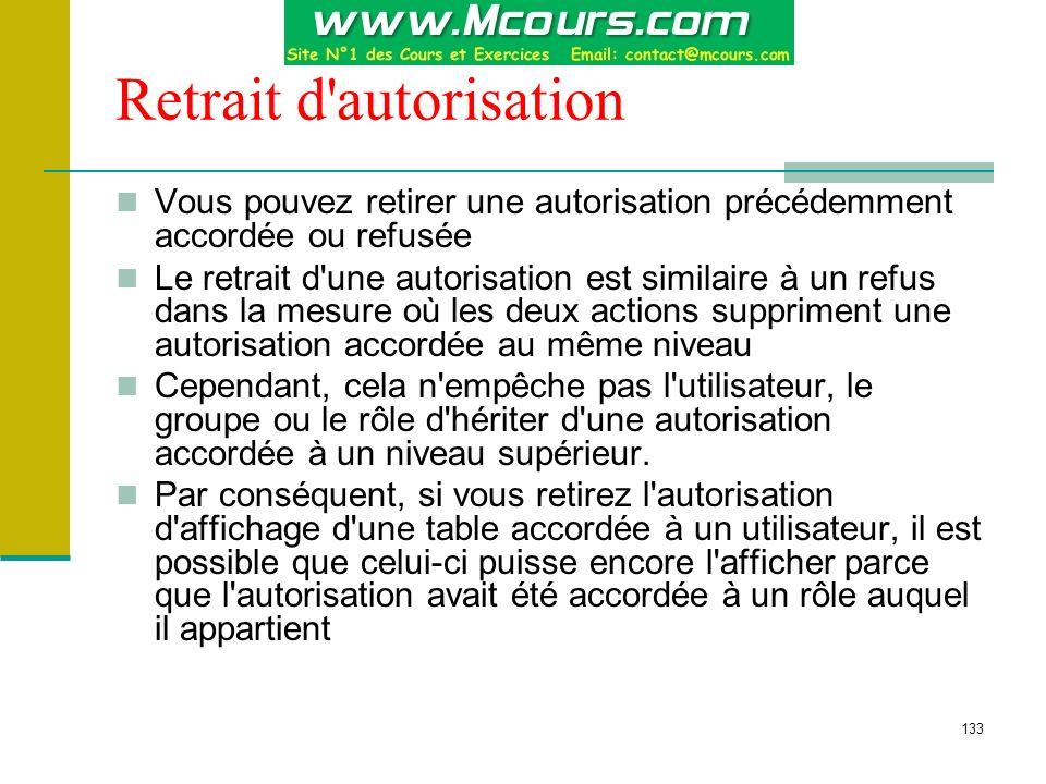 134 REVOKE Autorisations sur une instruction : REVOKE { ALL | instruction [,...n ] } FROM compte [,...n ] Autorisations sur un objet : REVOKE { ALL [ PRIVILEGES ] | permission [,...n ] } { [ ( colonne [,...n ] ) ] ON { table | vue | ON { table | vue } [ ( colonne [,...n ] ) ] } FROM compte [,...n ] [ CASCADE ] Exemple : REVOKE CREATE TABLE FROM ali REVOKE SELECT ON stagiaire FROM meryem