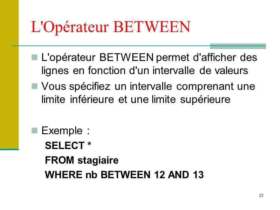 24 Opérateur IN Permet de comparer une expression avec une liste de valeurs, utilisez l opérateur IN Opérateur dappartenance à un ensemble de valeurs Exemple : SELECT * FROM stagiaire WHERE ln IN (taza,sefrou,rabat)