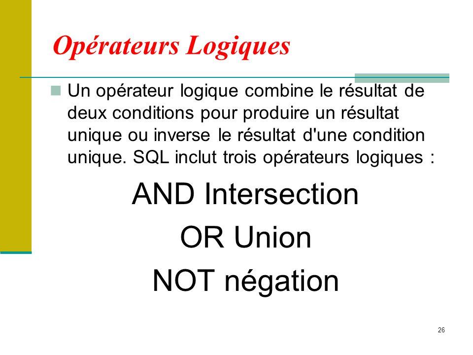 26 Opérateurs Logiques Un opérateur logique combine le résultat de deux conditions pour produire un résultat unique ou inverse le résultat d'une condi