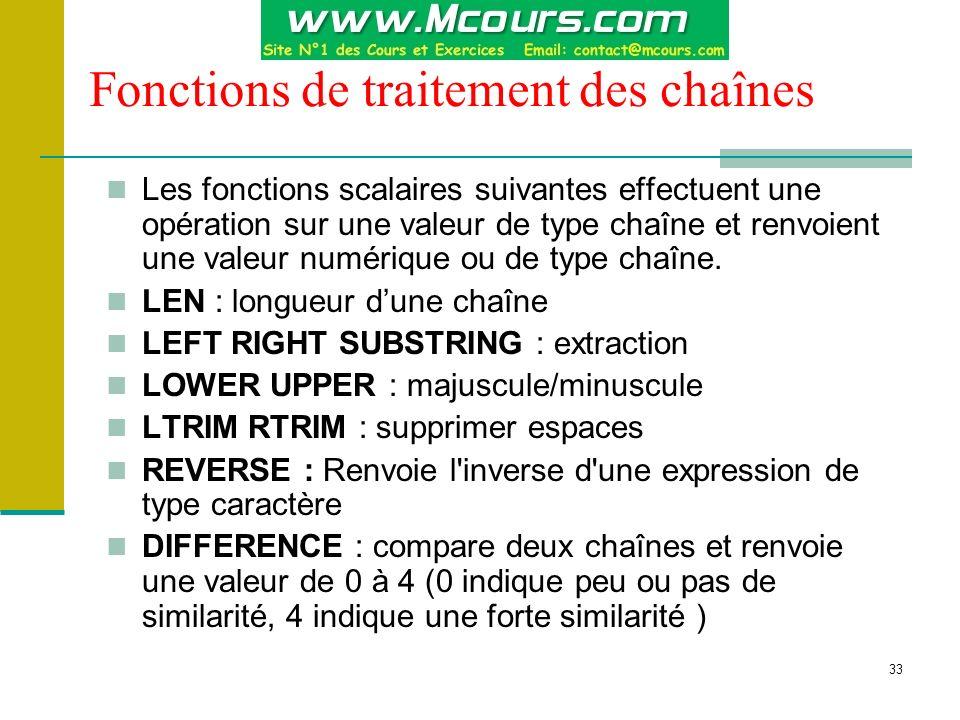33 Fonctions de traitement des chaînes Les fonctions scalaires suivantes effectuent une opération sur une valeur de type chaîne et renvoient une valeu