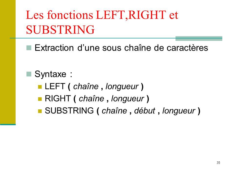 36 Les fonction UPPER et LOWER Conversion majuscule (UPPER) et minuscule (LOWER) dune chaîne de caractères alphabétiques Syntaxe : UPPER ( chaîne ) LOWER ( chaîne )