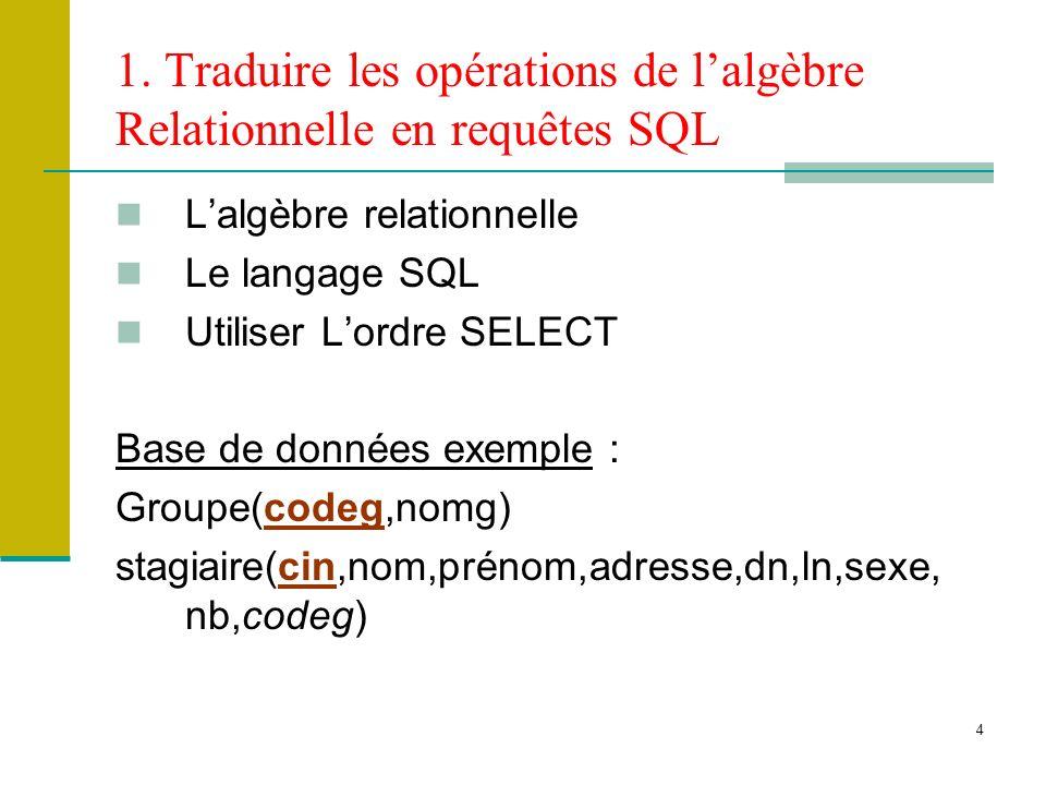 4 1. Traduire les opérations de lalgèbre Relationnelle en requêtes SQL Lalgèbre relationnelle Le langage SQL Utiliser Lordre SELECT Base de données ex