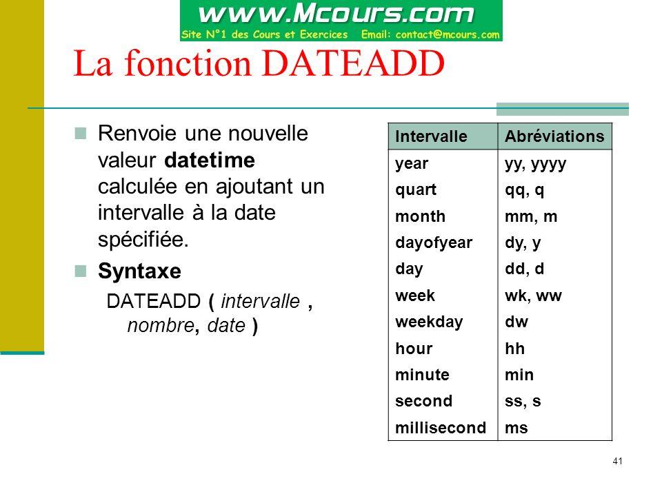 41 La fonction DATEADD Renvoie une nouvelle valeur datetime calculée en ajoutant un intervalle à la date spécifiée. Syntaxe DATEADD ( intervalle, nomb